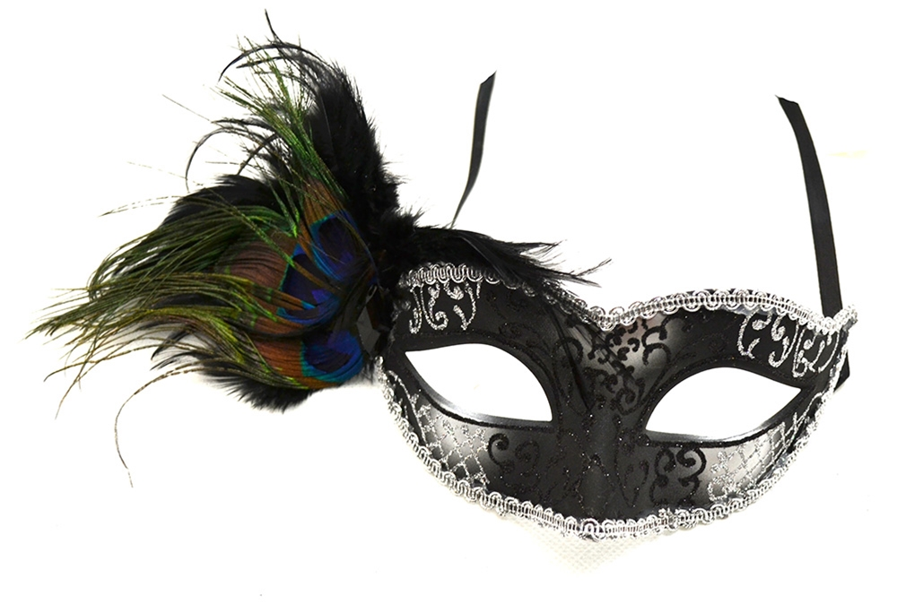 [Peacock Venetian Black And Silver Mask] (Silver Mask)
