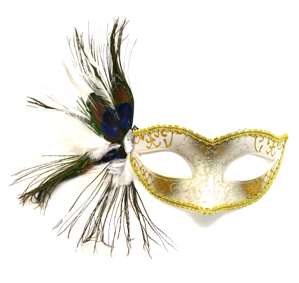 Peacock Venetian White And Gold Mask