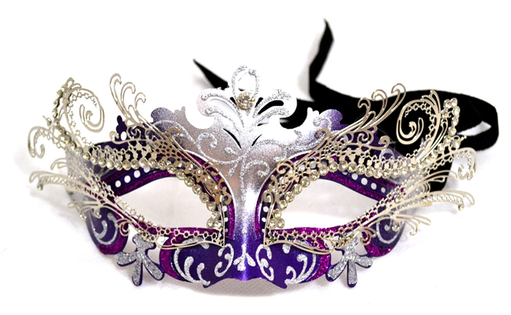 [Venetian Purple & Silver Mask with Crystals] (Silver Mask)