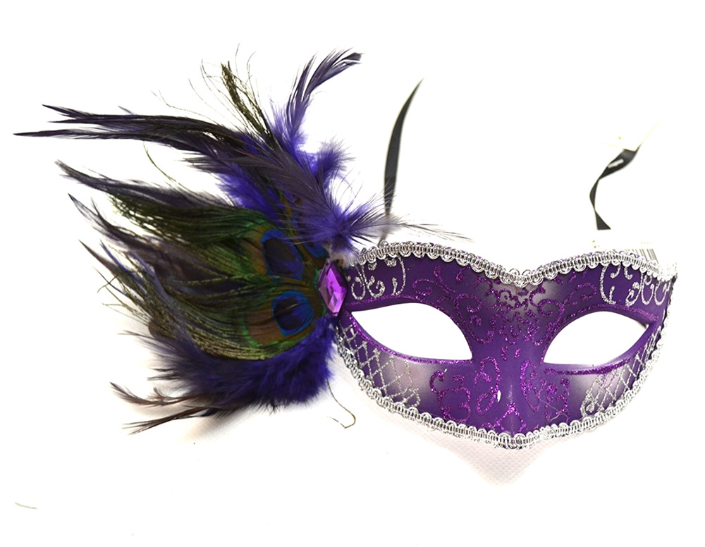 [Peacock Venetian Purple And Silver Mask] (Silver Mask)