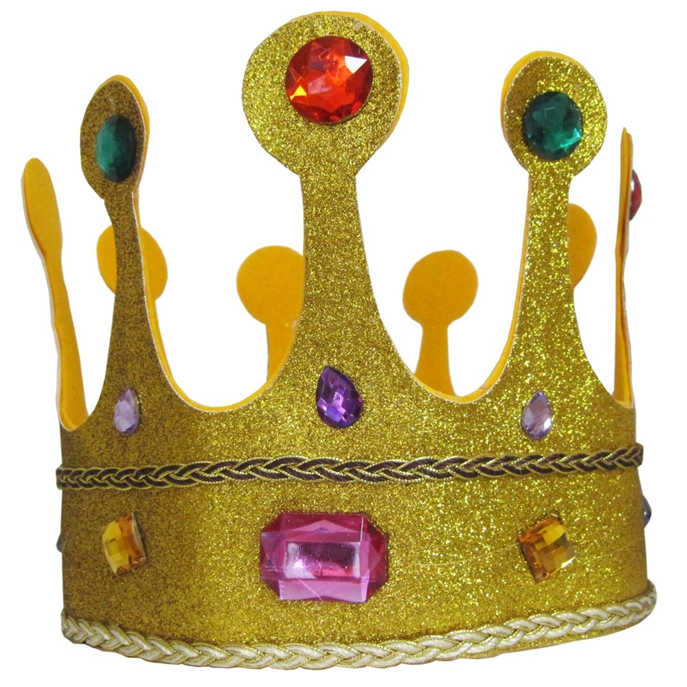 Gold Glitter Jeweled Queens Crown