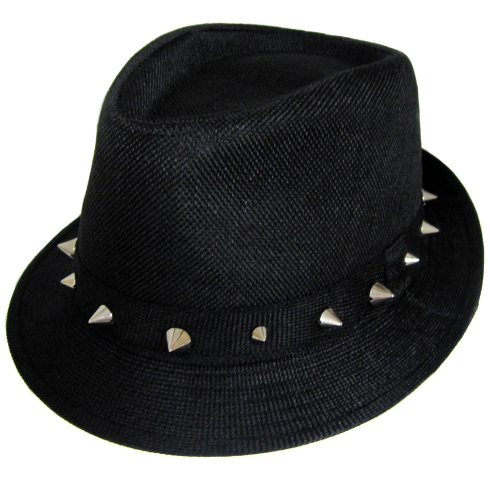 Black Fedora With Silver Spikes