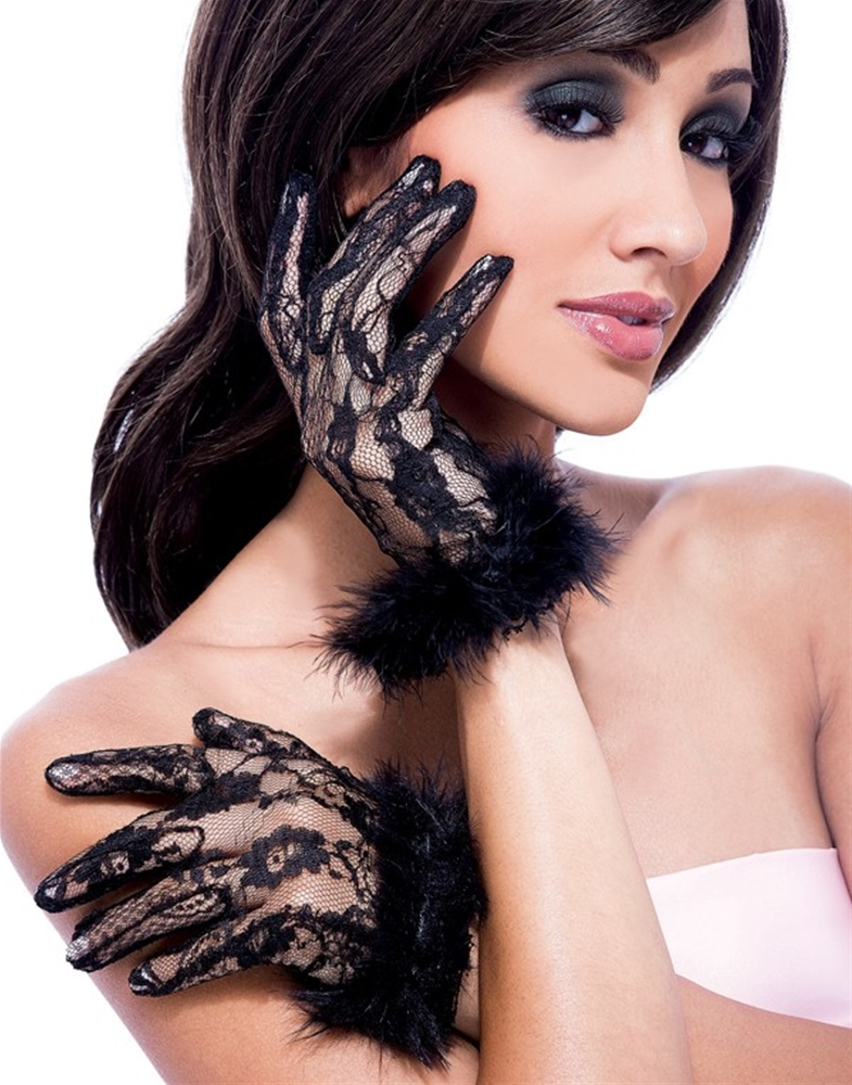 Short Lace & Marabou Gloves