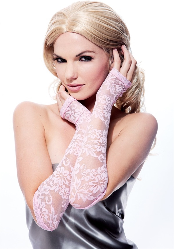 Pink Lace Fingerless Gloves by Paper Magic