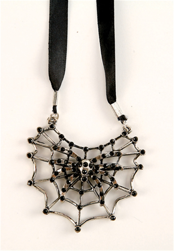 Spiderweb Black Gem Necklace
