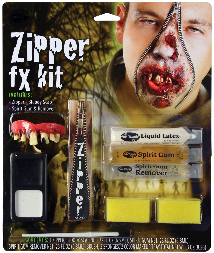 [Deluxe FX Zipper Zombie Makeup Kit] (Zipper Fx Kit)
