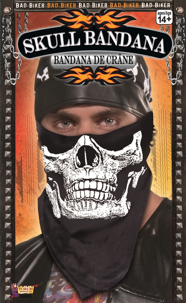 Black Skull Face Bandana