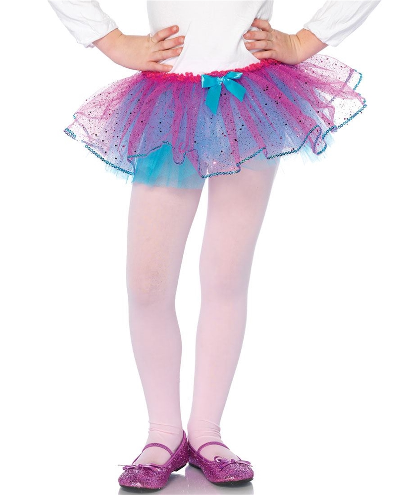 Dual Color Glitter Child Petticoat with Sequin Trim