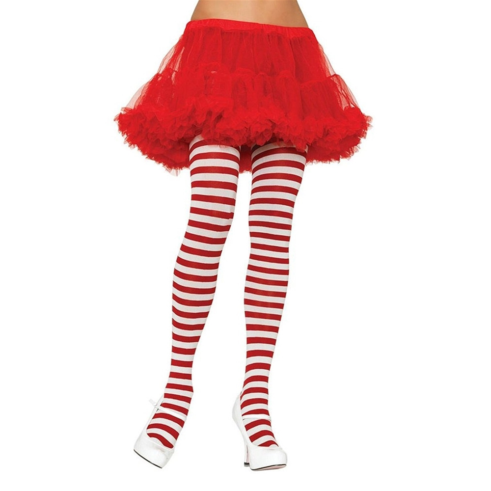 Red & White Striped Plus Size Tights