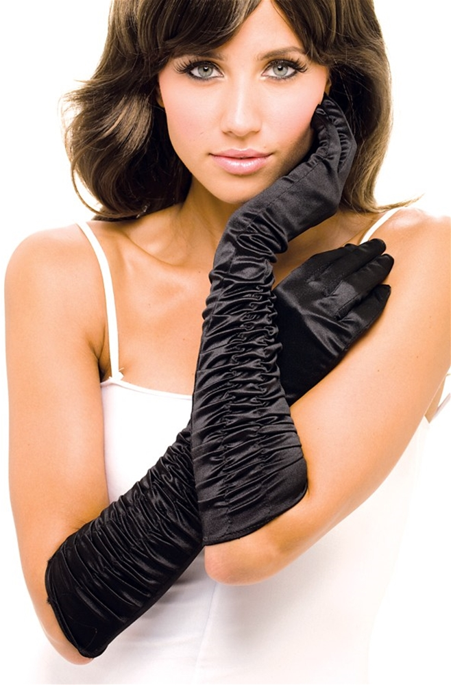 Black Ruffle Adult Womens Gloves