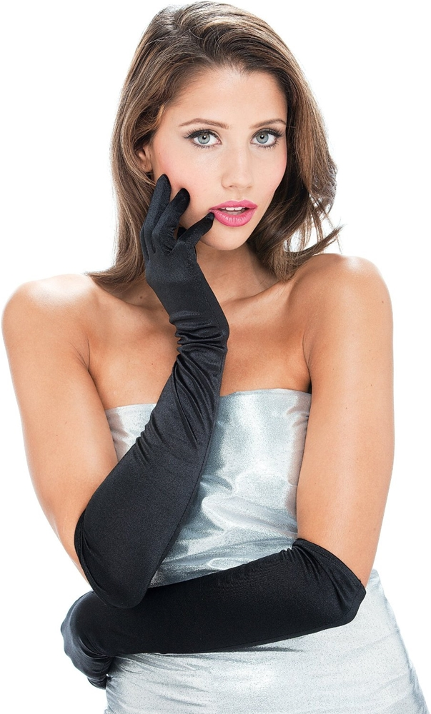 Long Black Womens Gloves by Paper Magic