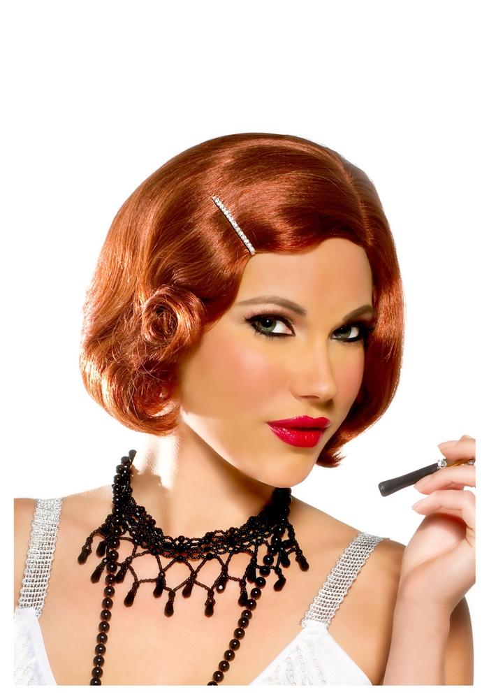 Pin Curl Flapper Red Wig