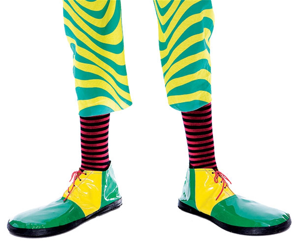 Adult Mens Green And Yellow Clown Shoes