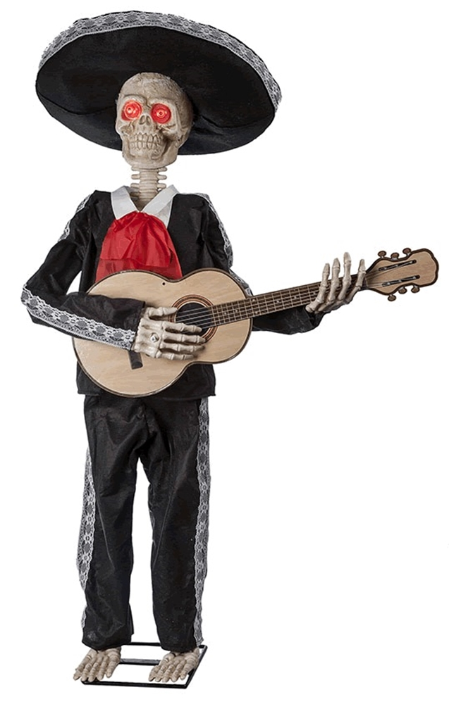 Image of Mariachi Skeleton Playing Guitar Animated Prop