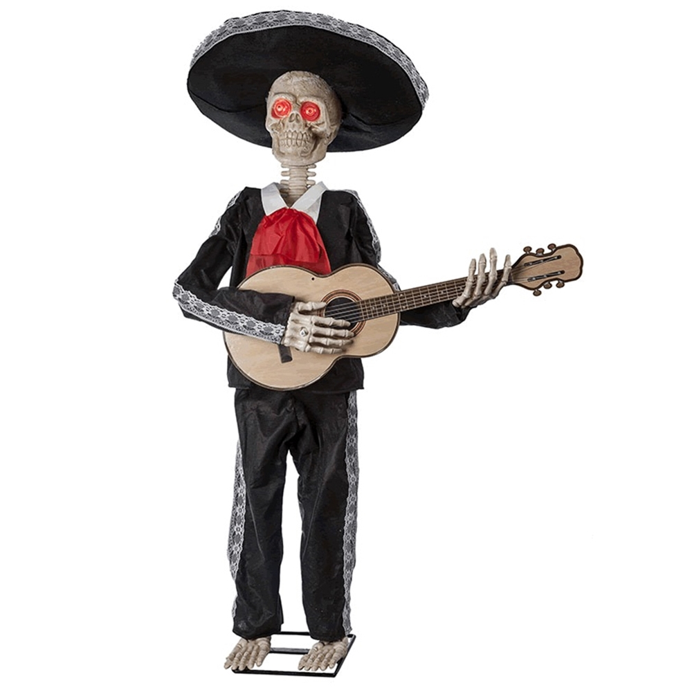 Mariachi Skeleton Playing Guitar Animated Prop