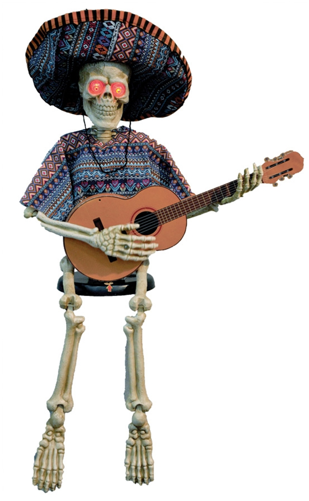 Skeleton Playing Guitar Animated Prop