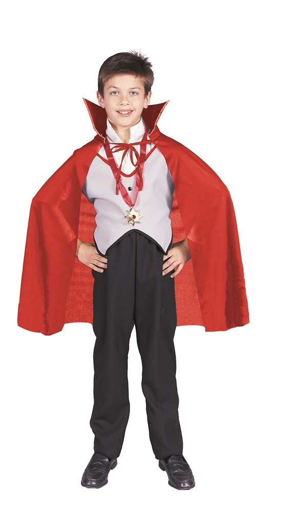 Short Red Taffeta Child Cape