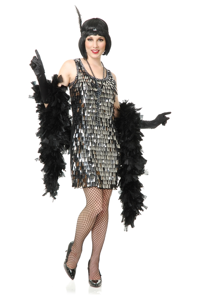 silver crystal teardrop flapper adult womens costume