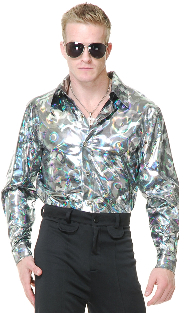 Silver Circles Disco Shirt Adult Mens Costume