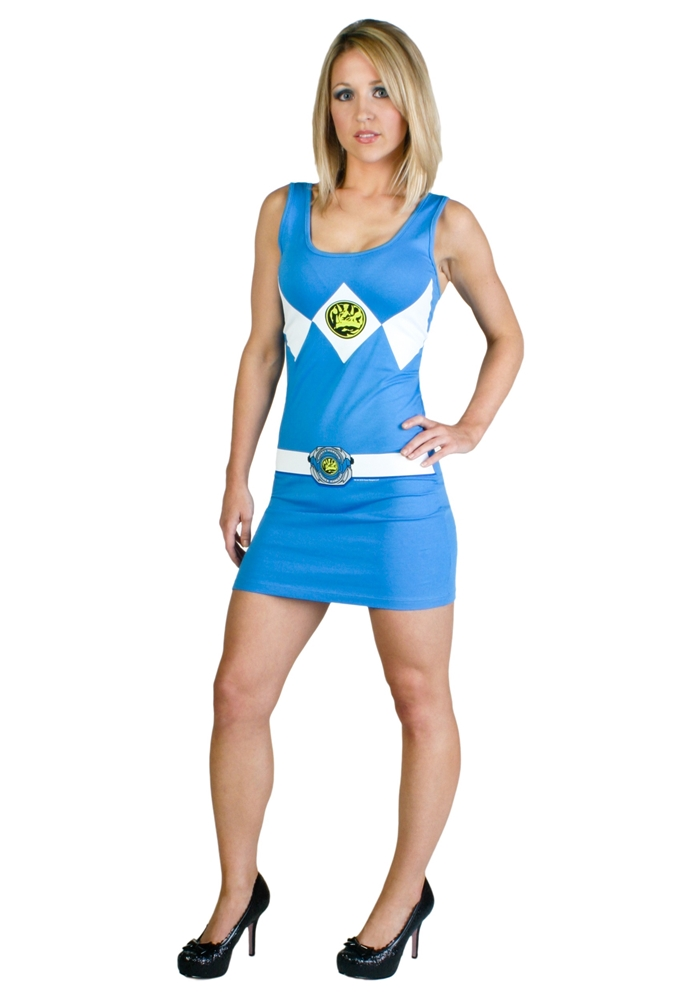 Power Ranger Blue Tank Dress Adult Womens Costume (Blue Power)