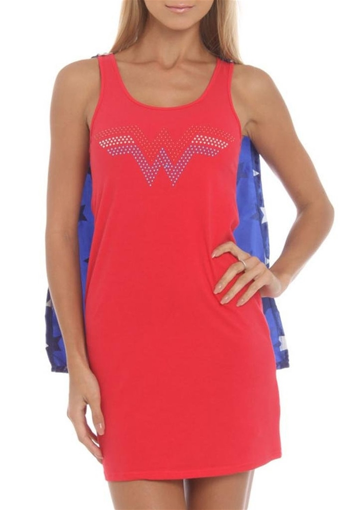 Wonder Woman Adult Womens Sleep Tank with Cape
