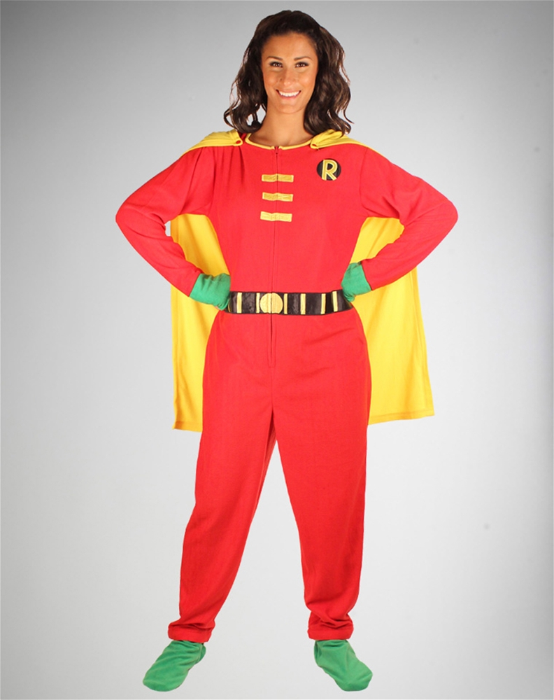 sc 1 st  Trendy Halloween & Robin the Teen Wonder Adult Onesie Pajama - 309725 | Trendyhalloween.com