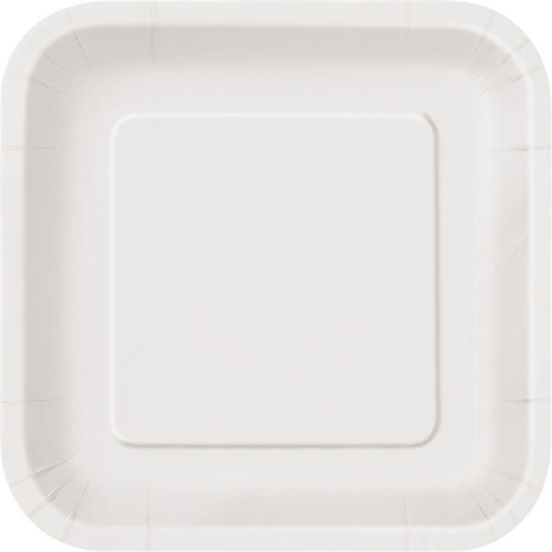 9″ Bright White Square Plates