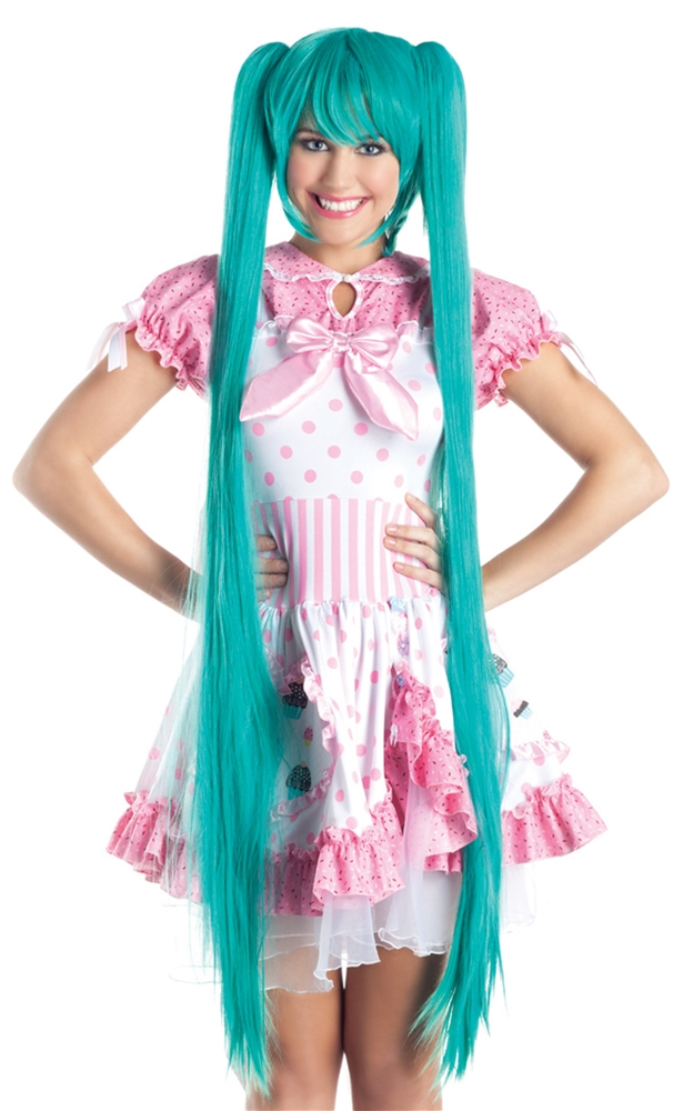 Turquoise Pigtails Long Cosplay Wig