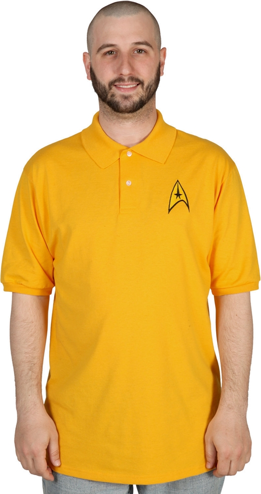Star Trek Commander Adult Mens Yellow Polo