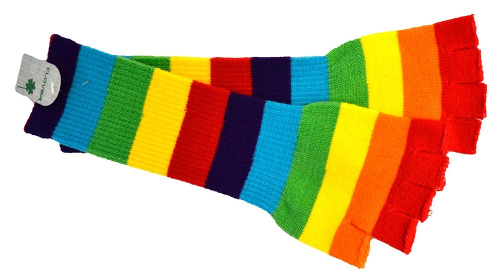 Купить Striped Rainbow Fingerless Gloves
