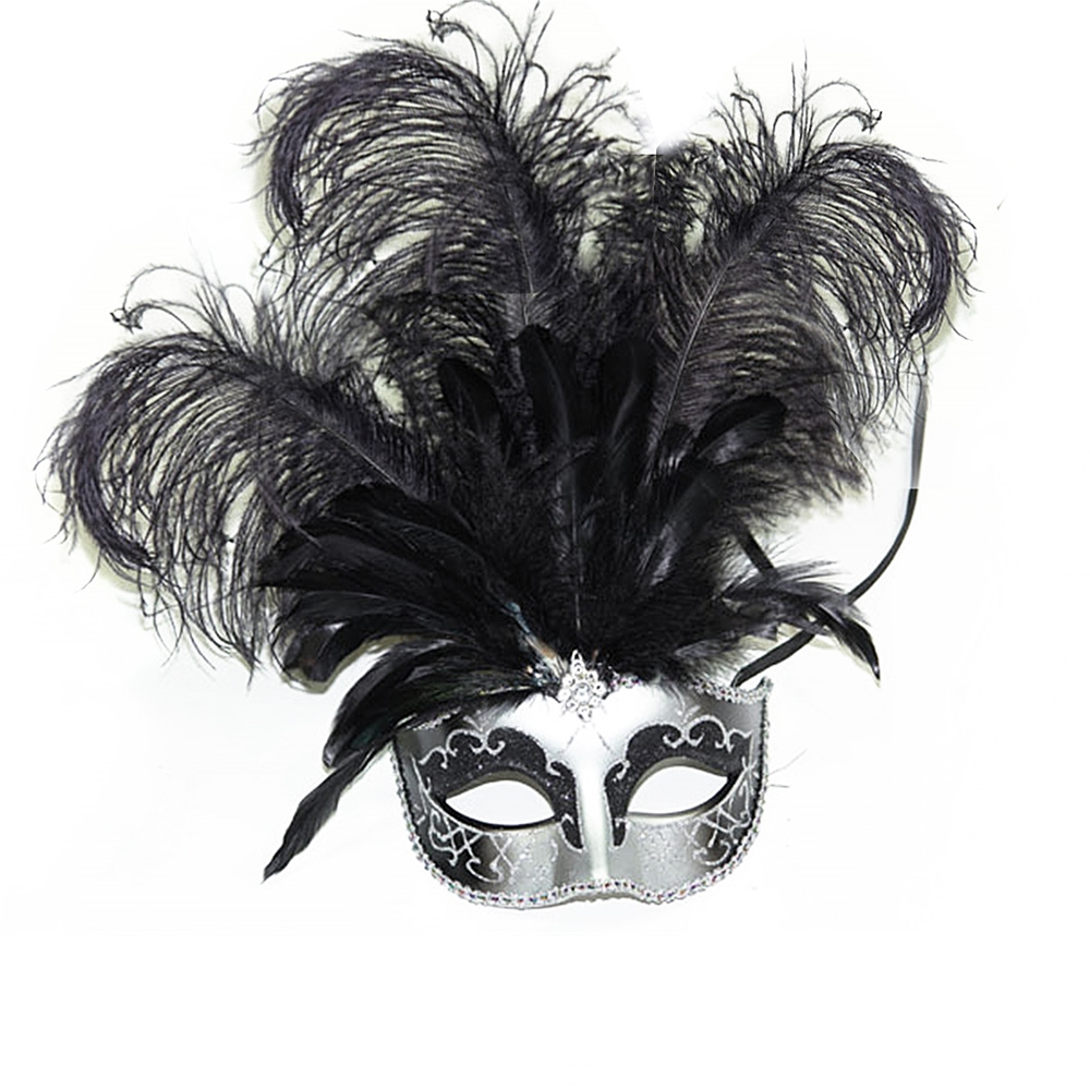 Carnival Style Masquerade Mask with Feathers (More Colors) (Feathered Masquerade Mask)