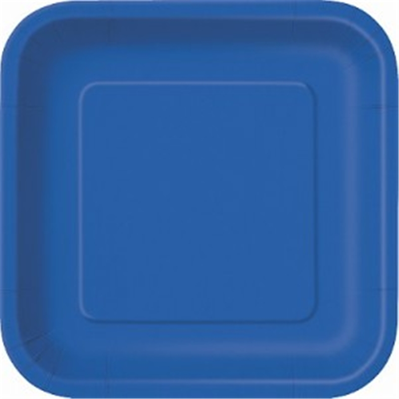 "Image of 7"" Royal Blue Square Plates"