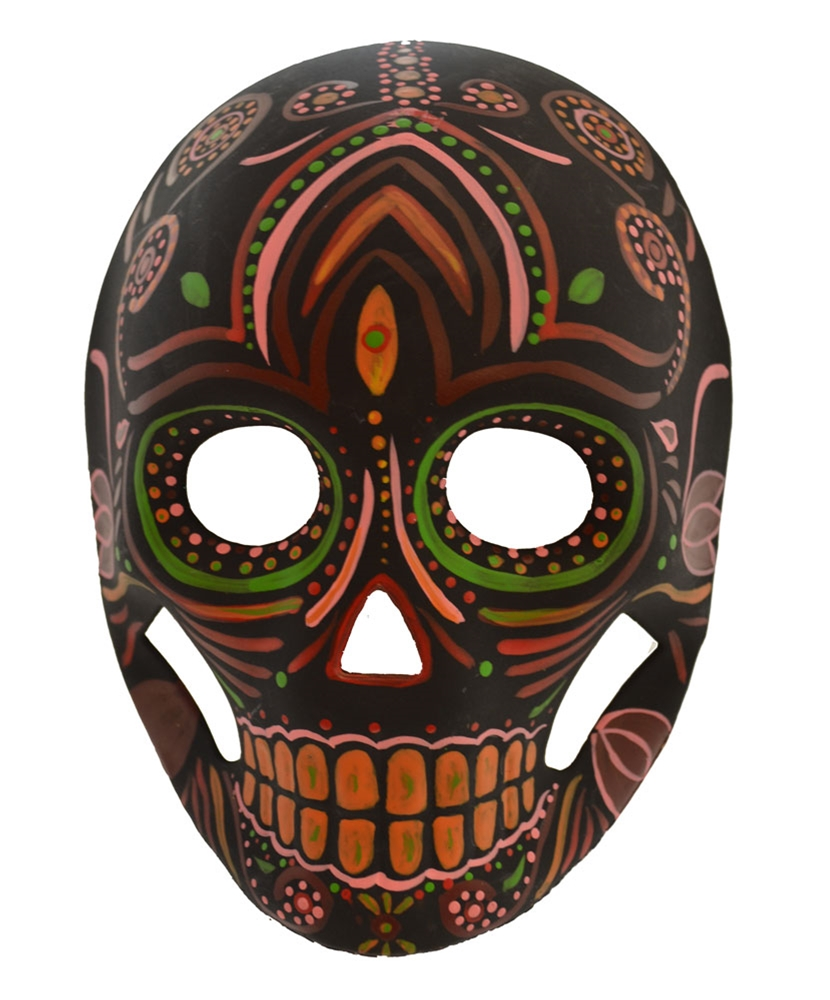 Day of the Dead Black & Orange Mask