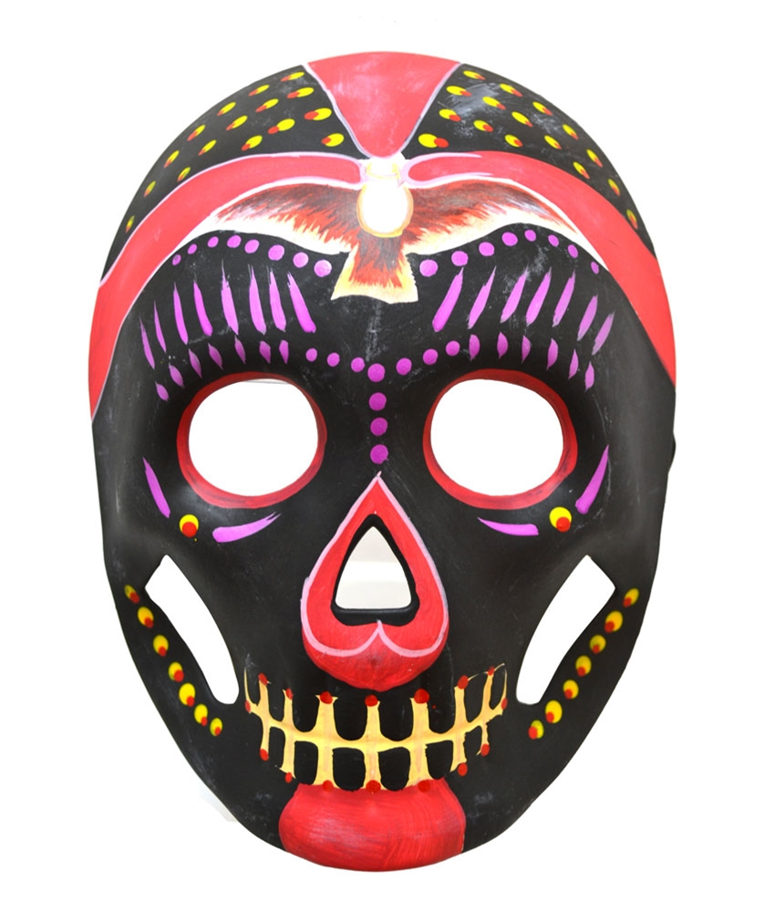 Day of the Dead Black & Magenta Mask