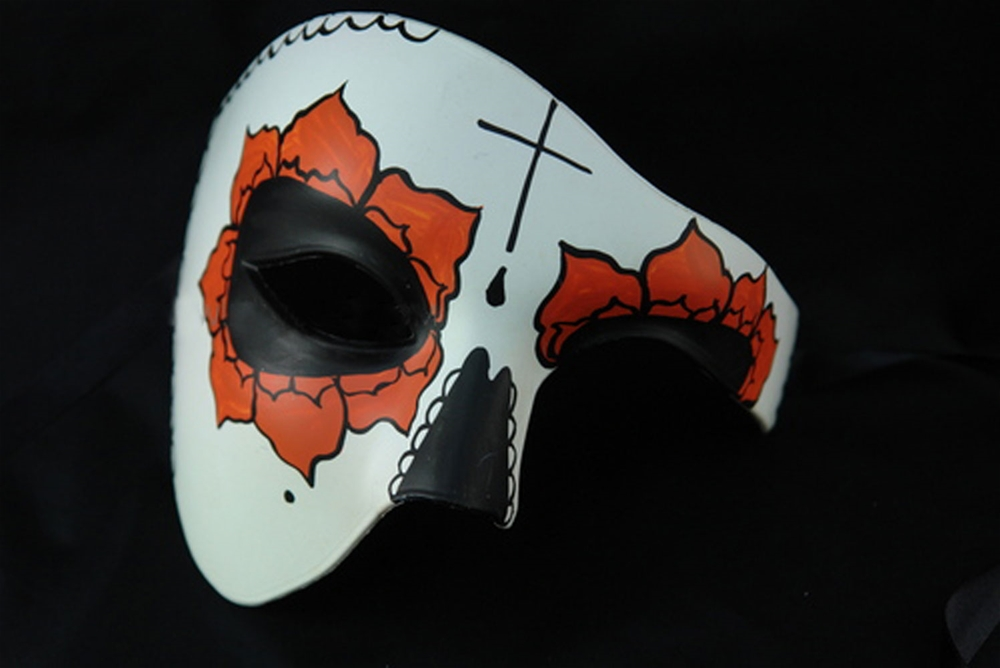 Day of the Dead Cross Half Mask