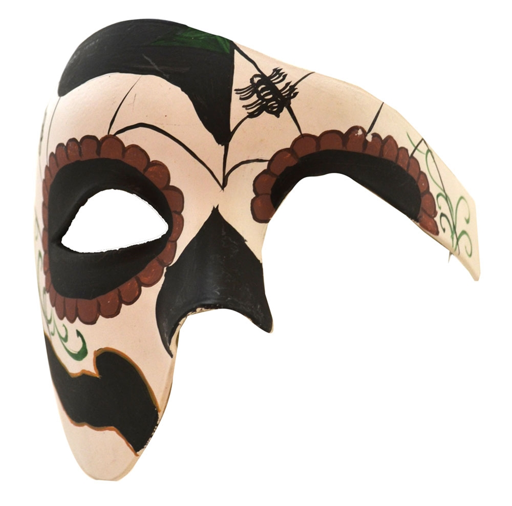 Day of the Dead Black & Brown Half Mask