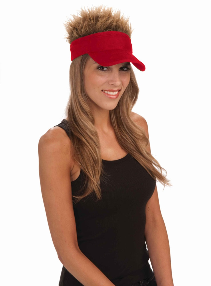 Red Visor with Hair