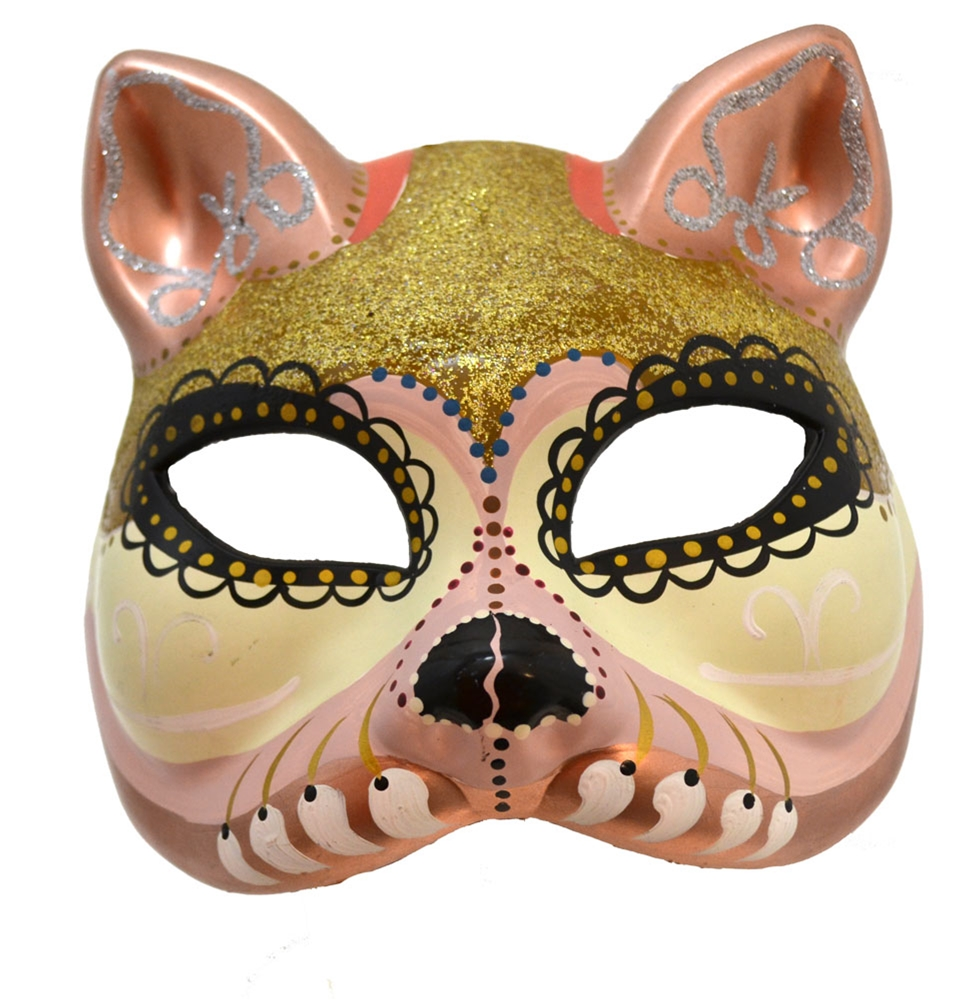 Day of the Dead White & Gold Cat Mask