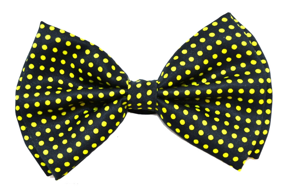Image of Black & Yellow Polka Dots Bow-Tie