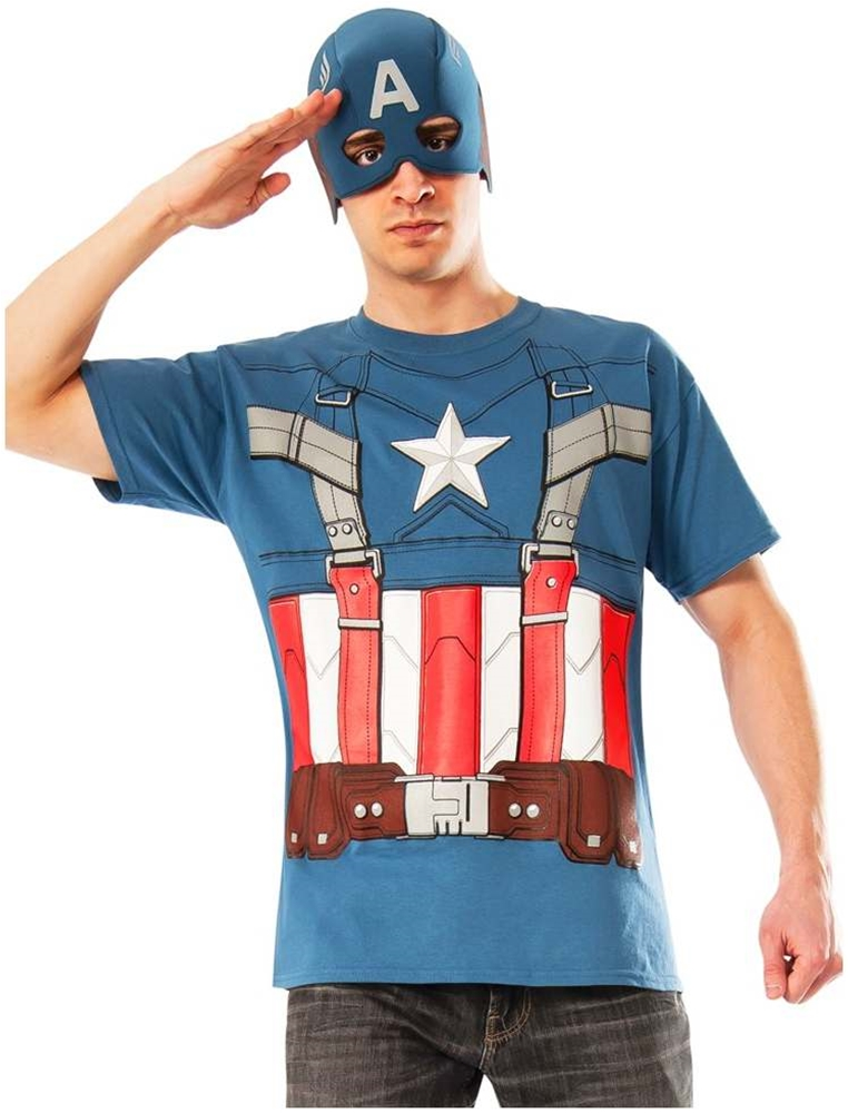 Captain America Retro T-Shirt & Mask Adult Mens Costume