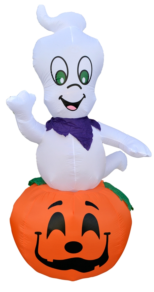 Image of Inflatable Rotating Ghost on a Pumpkin 9ft