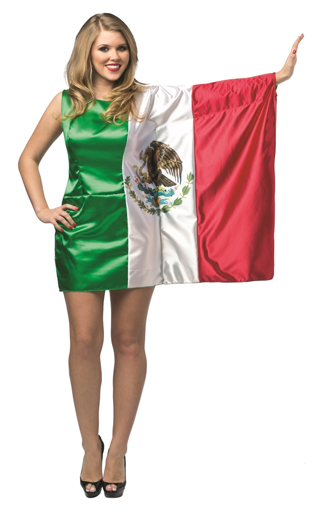 Mexico Flag Dress Adult Womens Costume