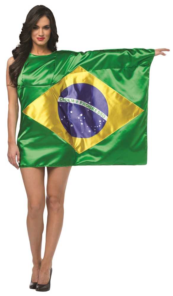 Brazil Flag Dress Adult Womens Costume