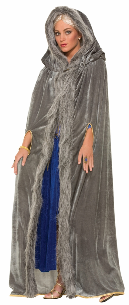 Trendy Cape Top Fashion Looks With Jeans Idea: Faux Fur Trimmed Cape Adult Womens Costume