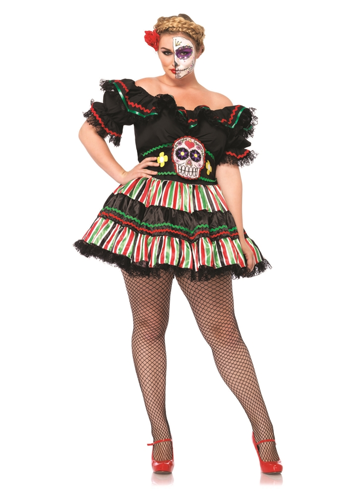 [Day of the Dead Doll Adult Womens Plus Size Costume] (Womens Day Of The Dead Costume)