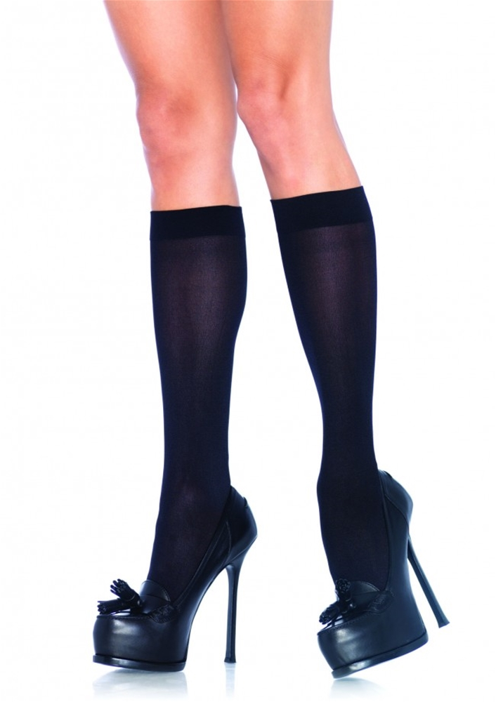 Black Nylon Knee Highs
