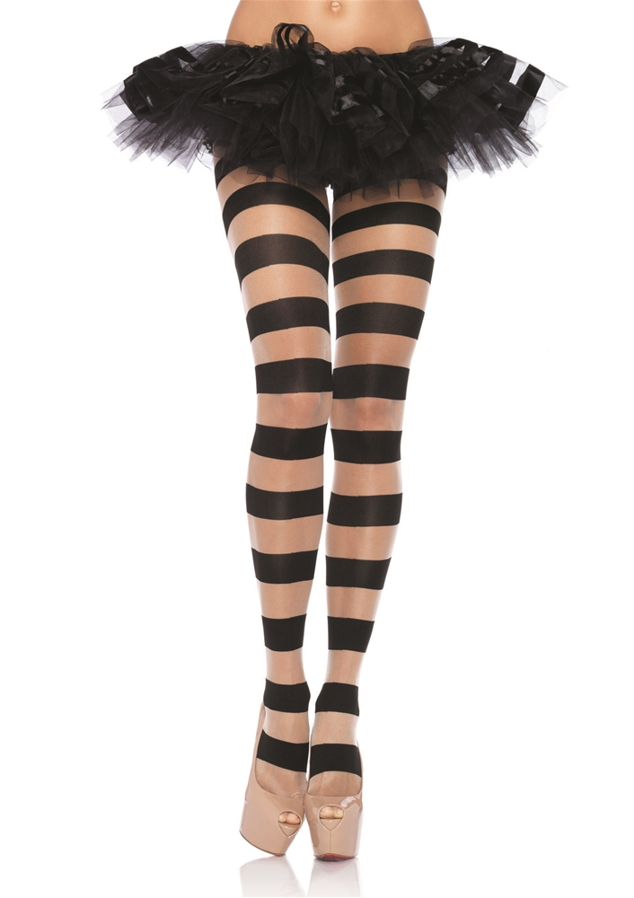 Sheer Opaque Striped Pantyhose by Leg Avenue
