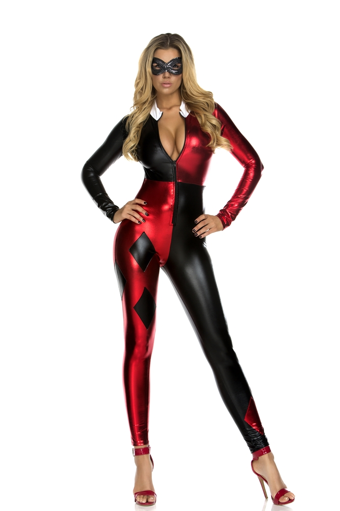 Jazzy Jester Catsuit Adult Womens Costume