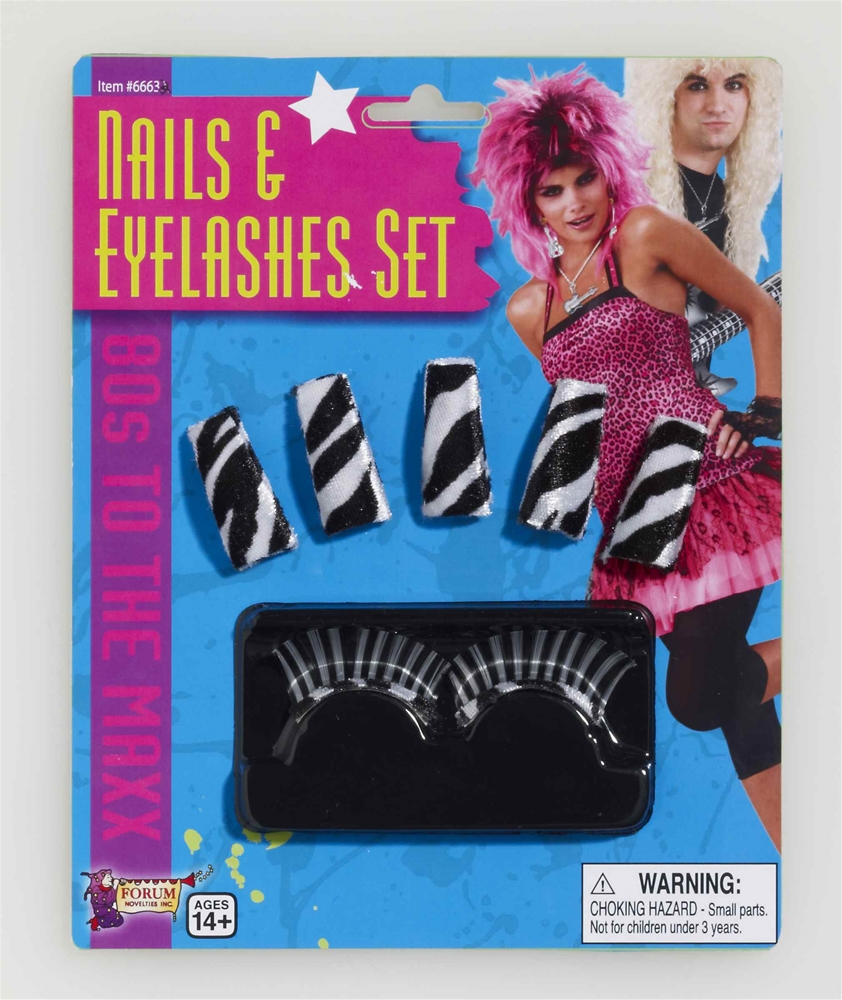 80s to the Max Nails & Eyelashes Set