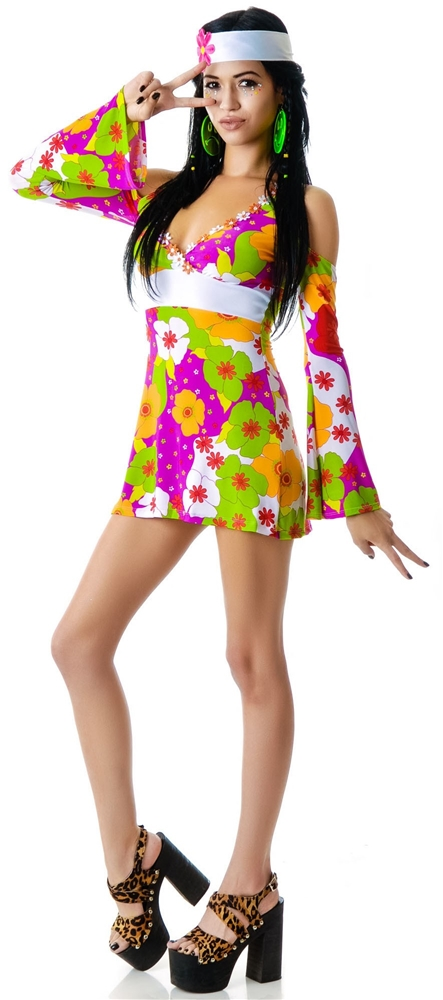 Hot Pink Flower Child Adult Womens Costume